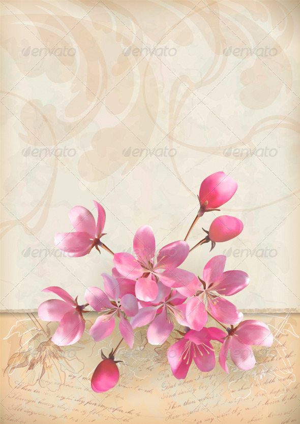 GraphicRiver Realistic Vector Cherry Blossom Flower Arrangement 4575644