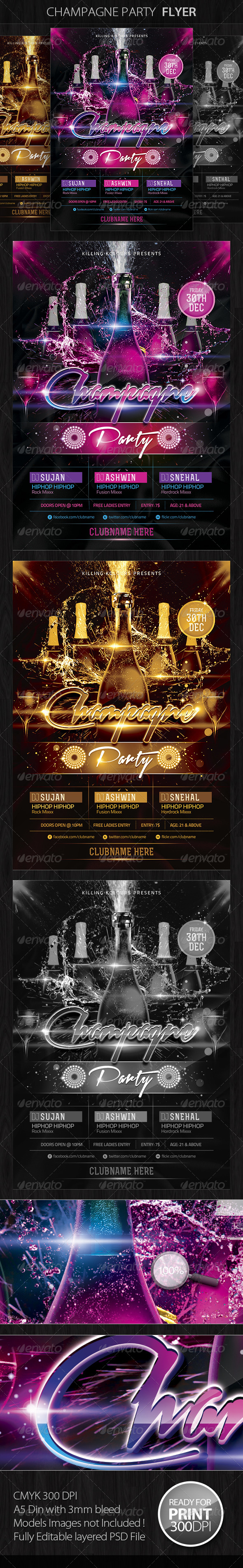 GraphicRiver Champagne Party Flyer 4575818