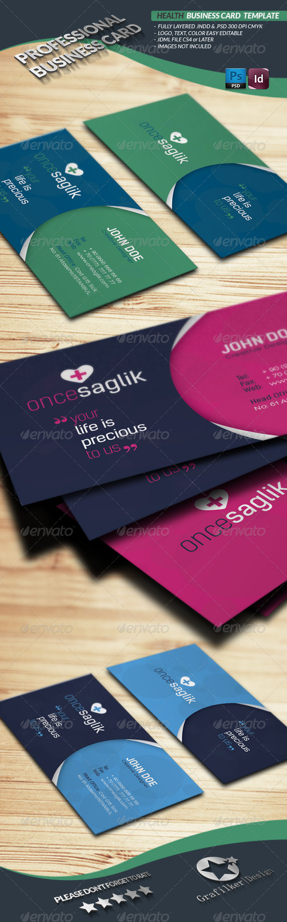 GraphicRiver Health Business Card Template 4493434