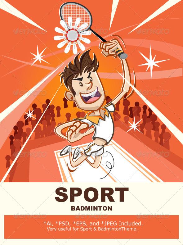 GraphicRiver Male Badminton Player 4576143