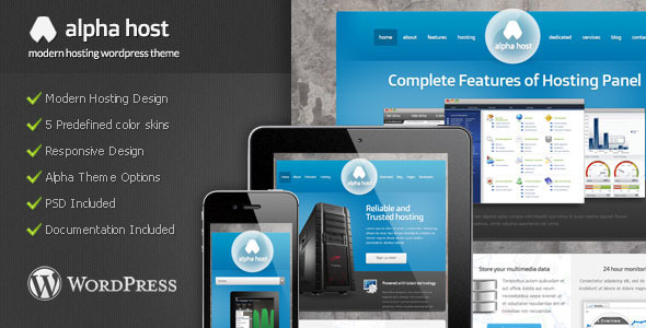 ThemeForest Alpha Modern Hosting Wordpress Theme 4526270