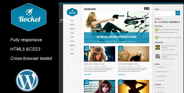ThemeForest Rocket News is a Responsive Wordpress Magazine The 4577133