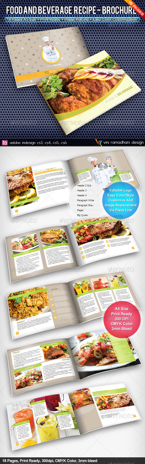 GraphicRiver Food And Beverage Recipe Brochure 4577316