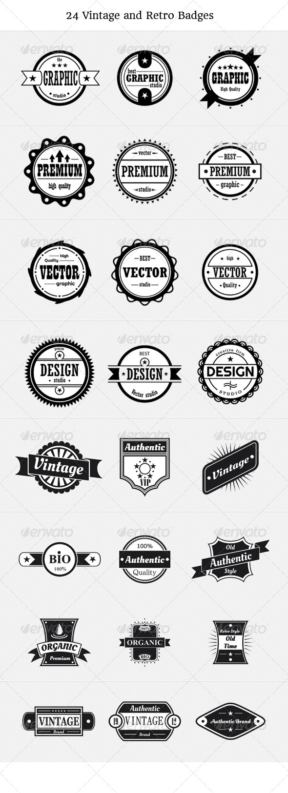 GraphicRiver 24 Vintage and Retro Badges 4577399