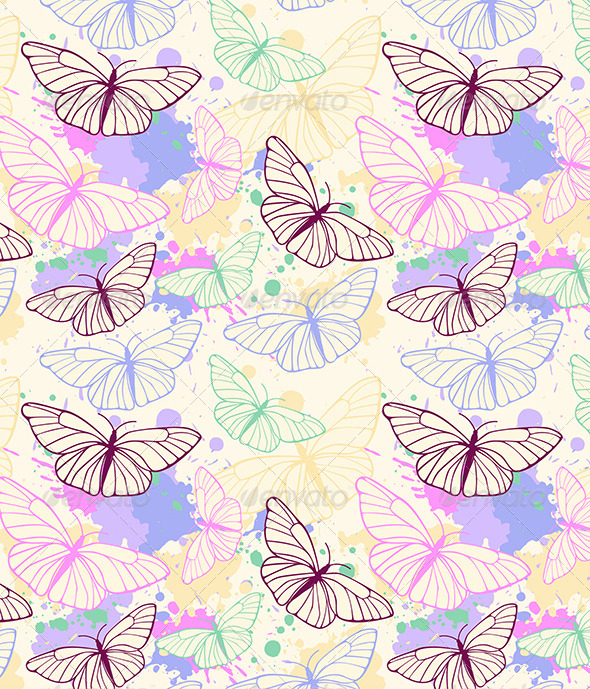 GraphicRiver Butterfly Seamless Pattern 4577485