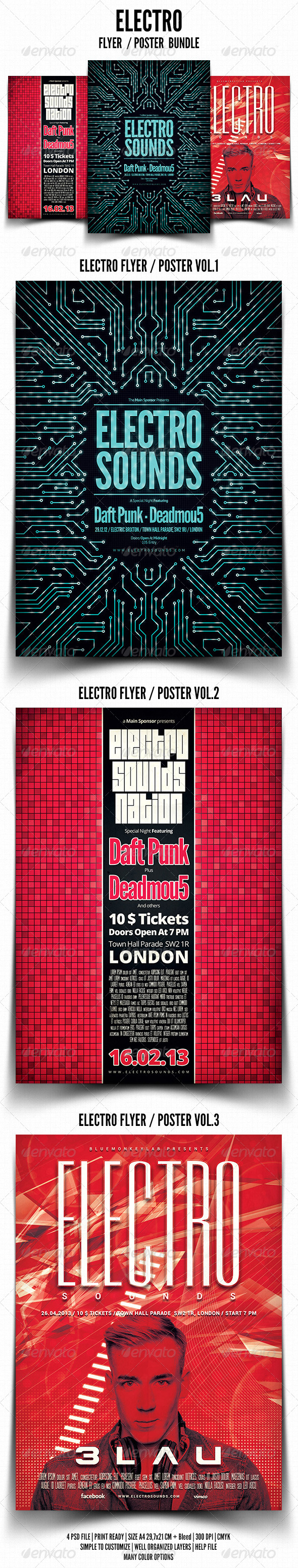 GraphicRiver Electro Flyer Poster Bundle 4577503