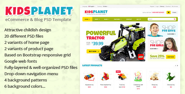 ThemeForest Kids Planet eCommerce & Blog PSD Template 4577713