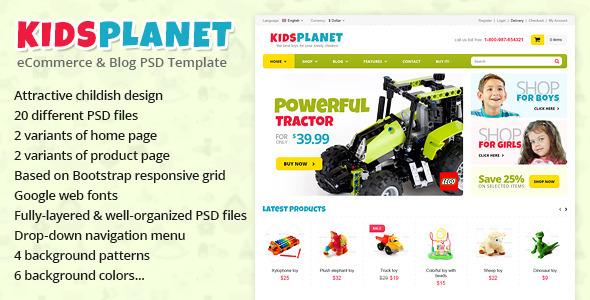 ThemeForest Kids Planet eCommerce & Blog PSD Template 4577713