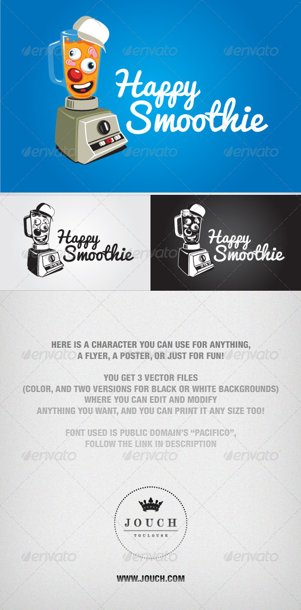 GraphicRiver Happy Smoothie Vector Character 4535379