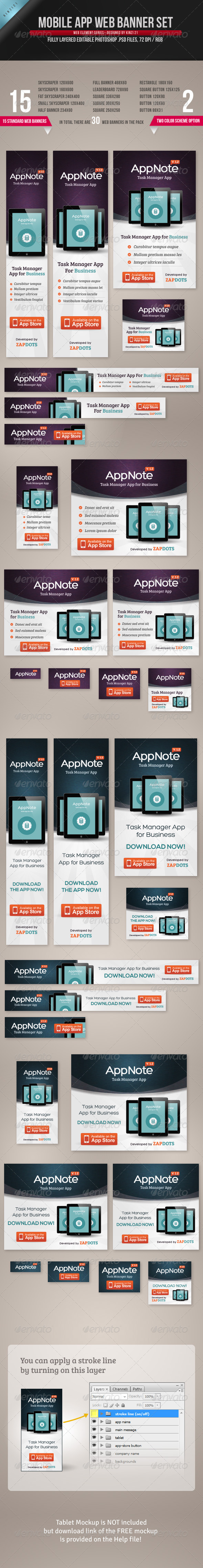 GraphicRiver Mobile App Web Banner Set 4543390