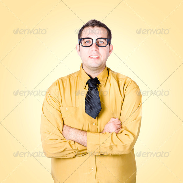 Nice nerd business salesman on yellow background - Stock Photo - Images