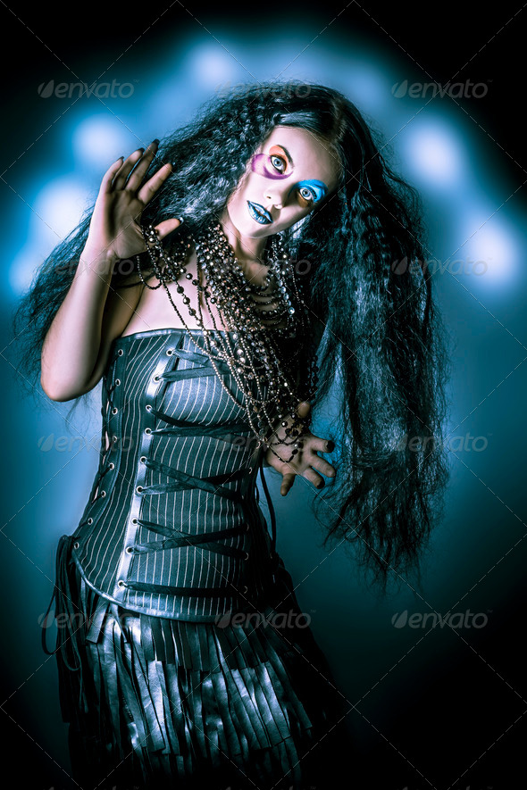 Grunge brunette vintage woman in black fashion - Stock Photo - Images