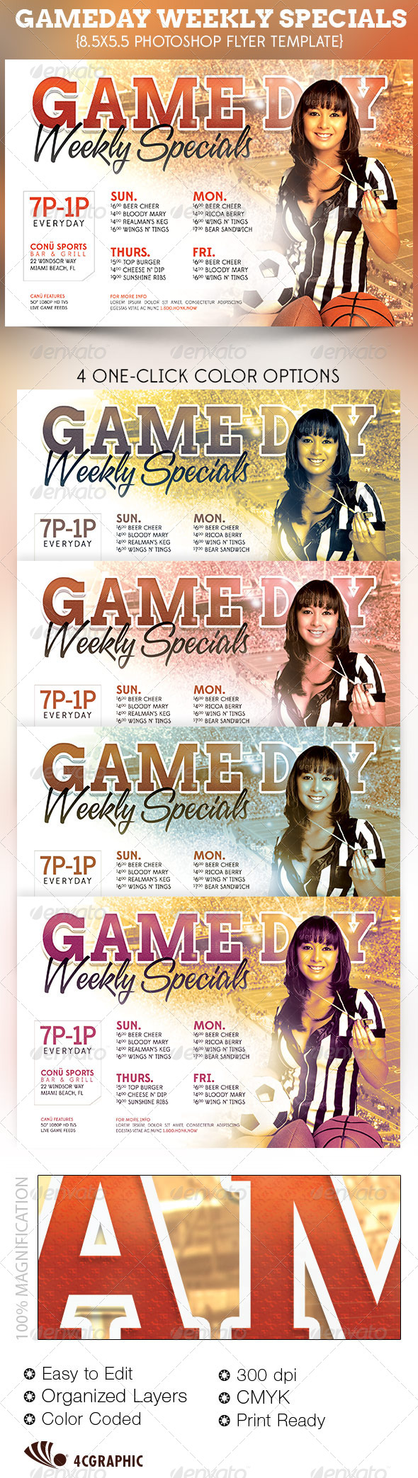 GraphicRiver Game Day Specials Flyer Template 4579820
