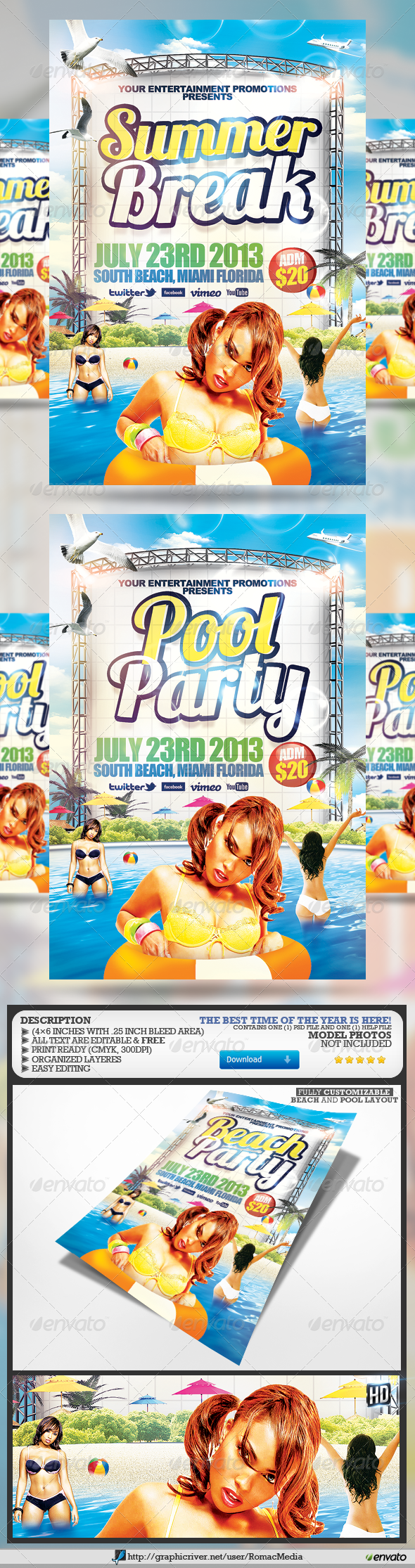 GraphicRiver Beach l Pool Party Flyers 4456970