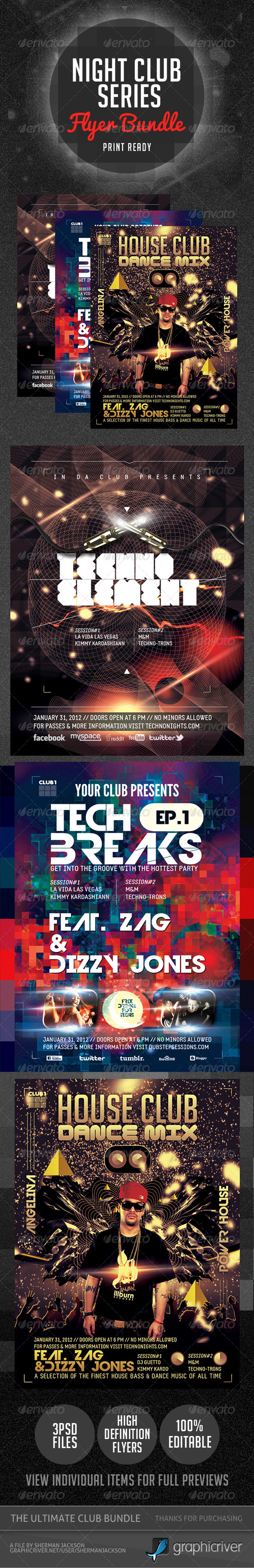 Night Club Series Flyer Bundle V.1 - Clubs & Parties Events
