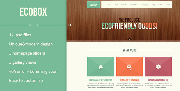 ThemeForest Ecobox Eco Friendly Business PSD Template 4580698