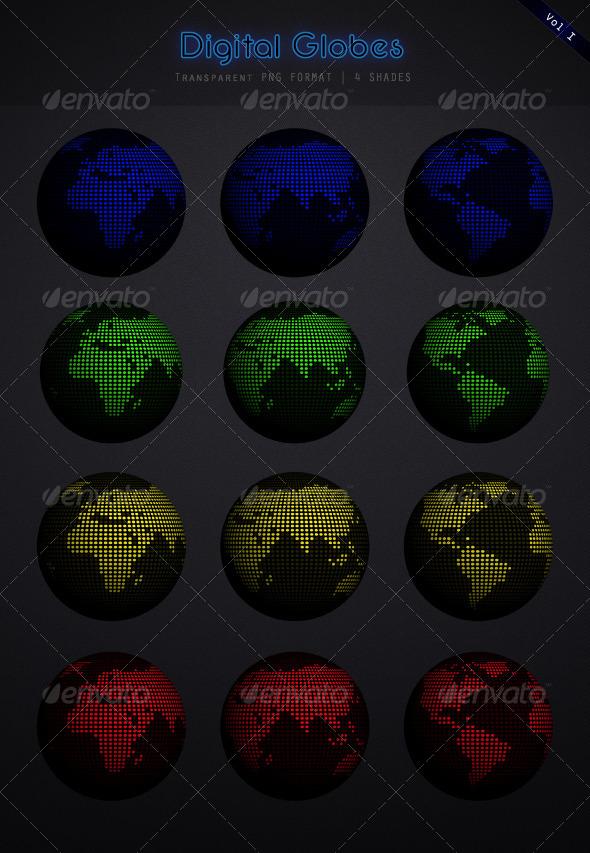 GraphicRiver Globe Earth set 4582158