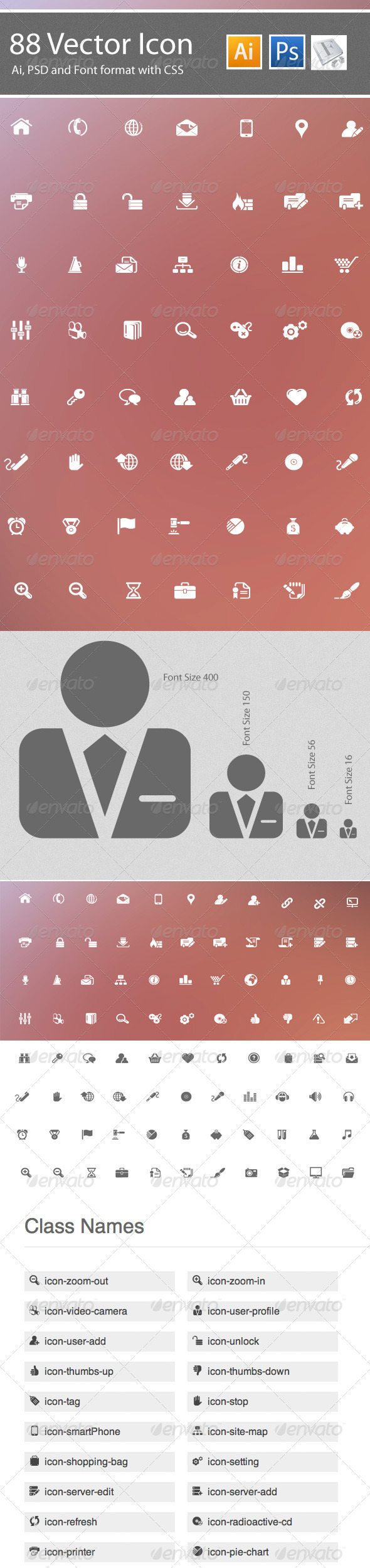 GraphicRiver 88 Web Icon & Iconic Font 4582261