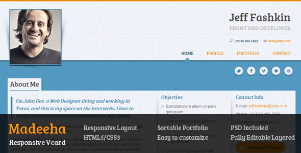 Madeeha - Responsive Vcard Template - This is the preview page screenshot