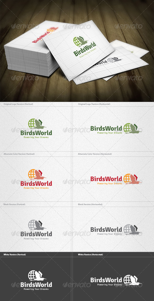 Birds World Logo - Animals Logo Templates