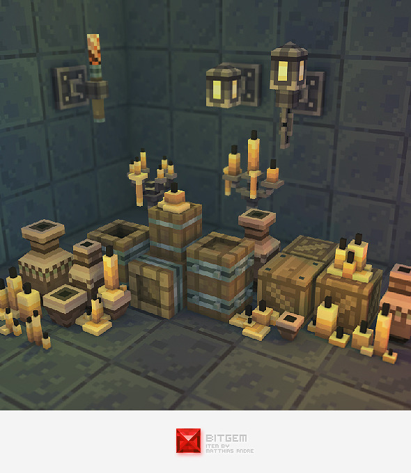 3DOcean Low Poly 3D Pixel Dungeon Deco Set 01 4583566