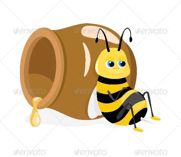GraphicRiver Bee and Honey Pot 4583831