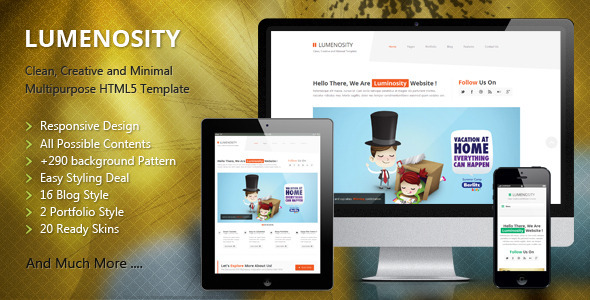 ThemeForest LUMENOSITY Multipurpose Responsive HTML5 Theme 4481201