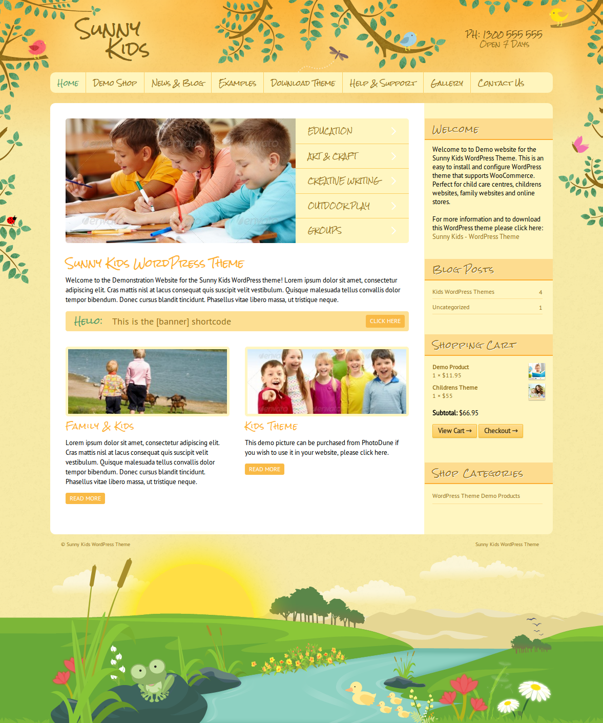 sunny kids creative woocommerce by dtbaker themeforest screenshots 0 sunny kids childrens kids wordpress theme jpg