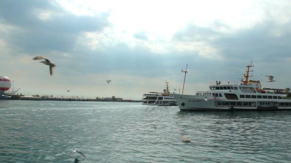 Ferries Passing By in Bosphorus