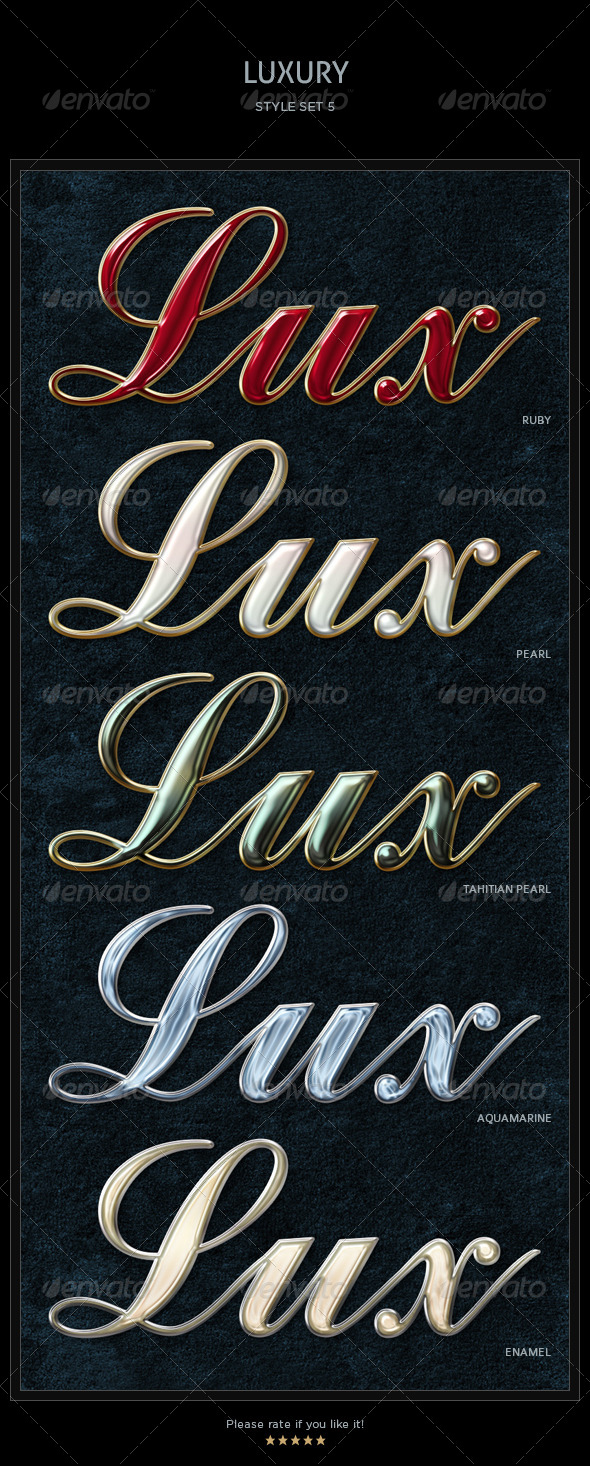 GraphicRiver 5 Luxury Text Styles 4586306