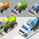 Isometric of Bulldozer and Dump Truck