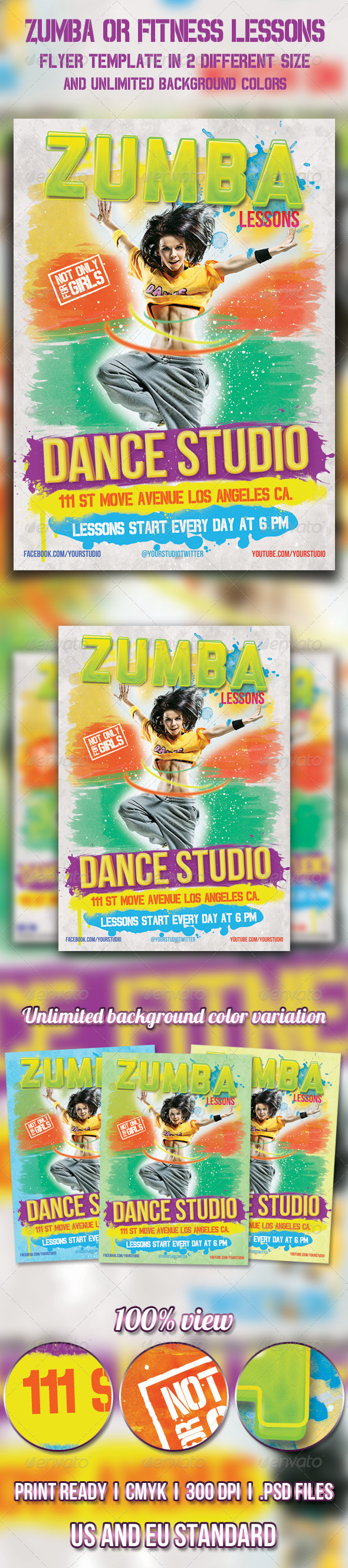 GraphicRiver Zumba or Fitness lessons flyer 4496266