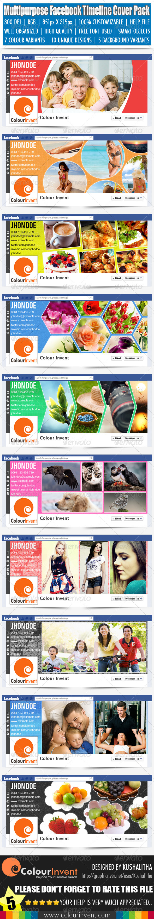 GraphicRiver Multipurpose Facebook Timeline Cover Pack 4586648