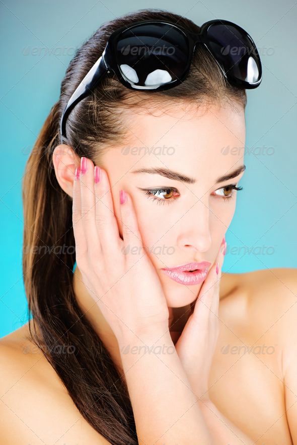 woman with big black sun glasses - Stock Photo - Images