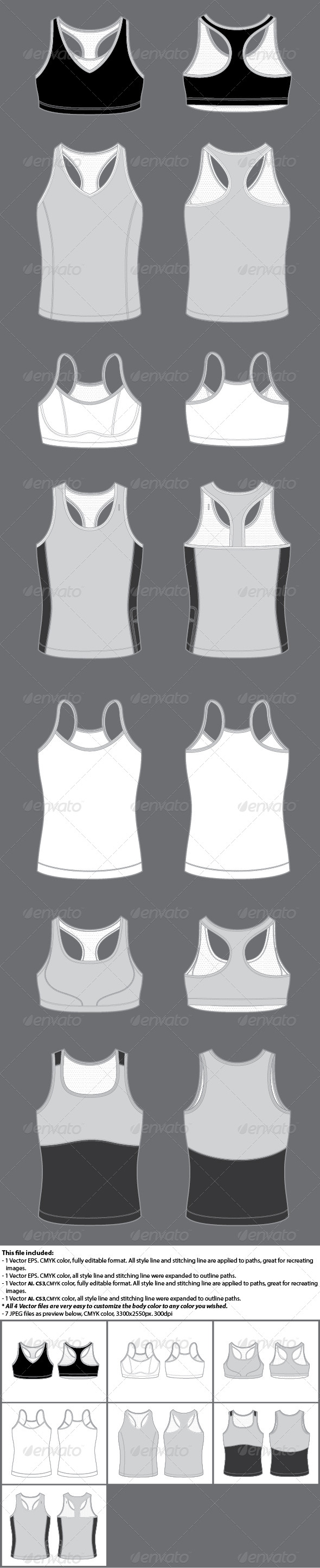 GraphicRiver Women s Active Wear Template Bra and Tank 4587534
