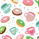 Cute Donuts and Cups Pattern - GraphicRiver Item for Sale