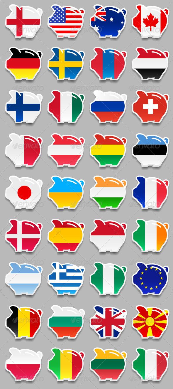 GraphicRiver 36 icons Piggy Bank Flags 4587726