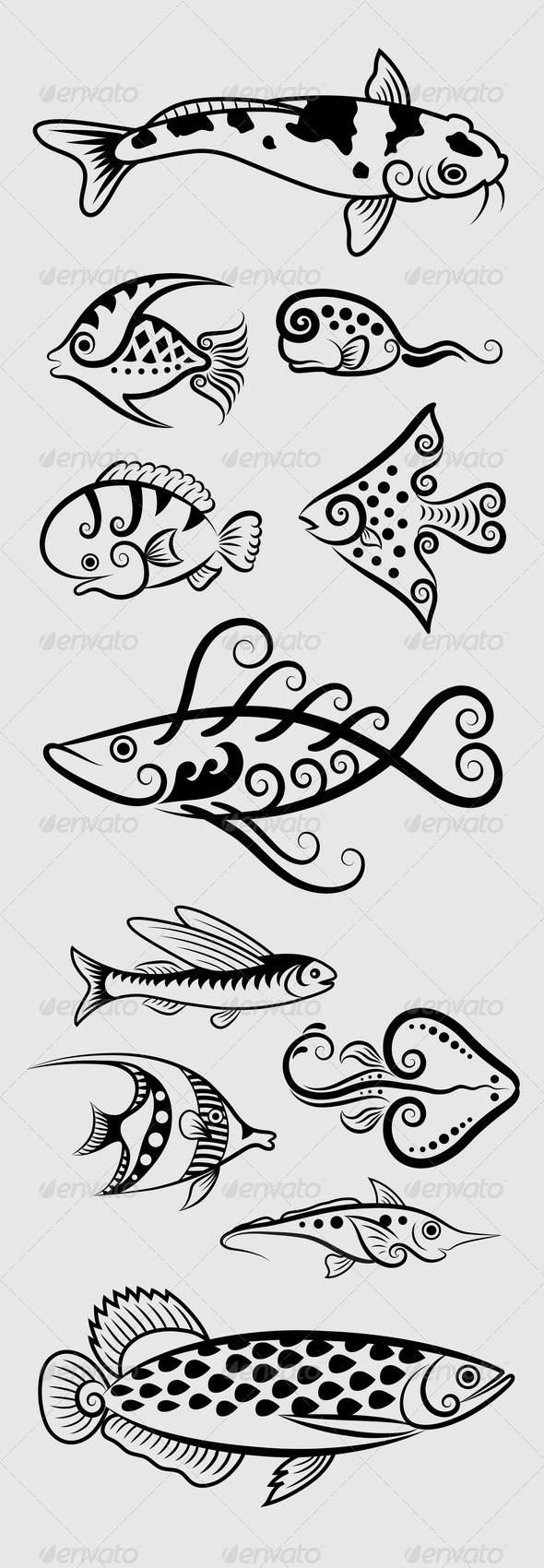Decorative Fish Symbols - Animals Characters