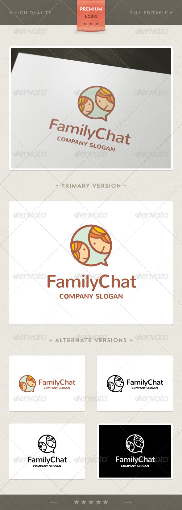GraphicRiver Chat Family Logo Template 4588386