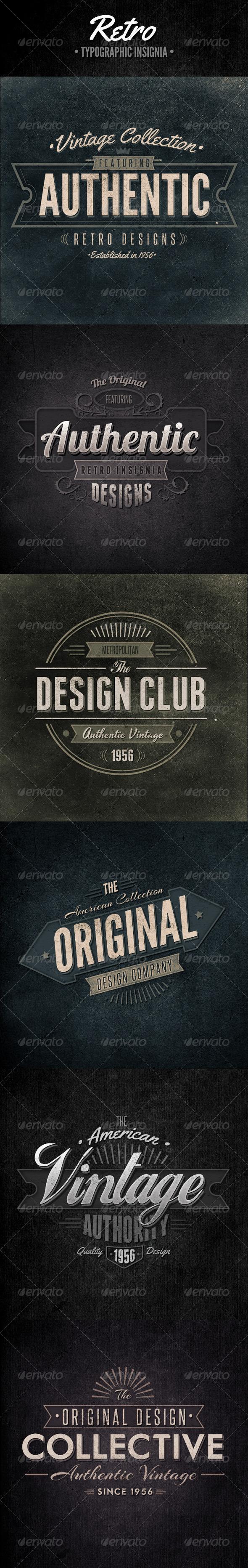GraphicRiver Retro Typographic Insignia and Badges 4588405