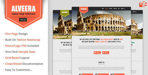 Alveera - Responsive HTML5 Single Page Wordpress - Portfolio Creative
