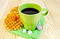 Wafers are round with a green mug and sugar - PhotoDune Item for Sale