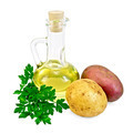 Potatoes red and yellow  with a bottle of oil - PhotoDune Item for Sale