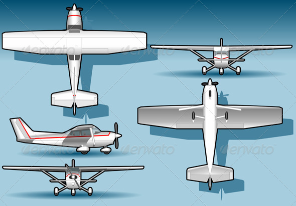 GraphicRiver White Plane in Five Positions 4551336