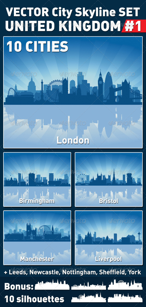 GraphicRiver Vector City Skyline Set United Kingdom #1 4591051