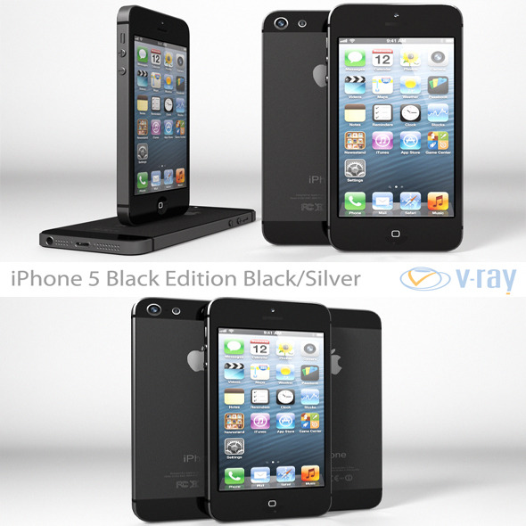 3DOcean Apple iPhone 5 Black Edition Black Silver Vray 4592133