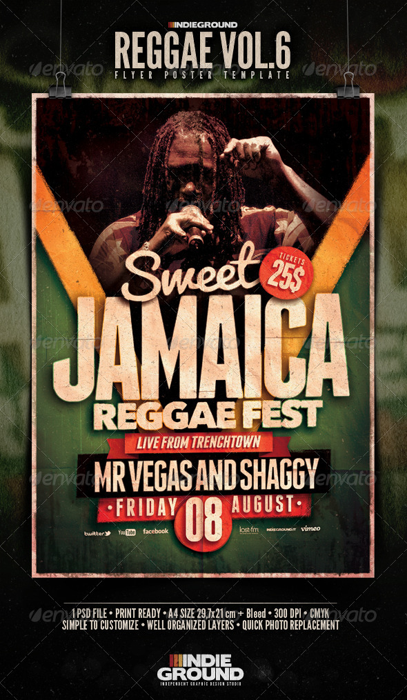 Reggae Flyer/Poster Vol. 6 - Concerts Events