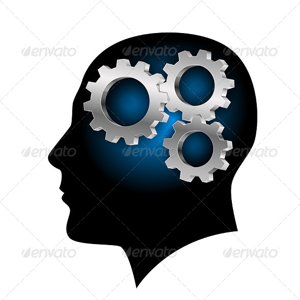 GraphicRiver Humans Brain with Gearwheel Inside 4592517