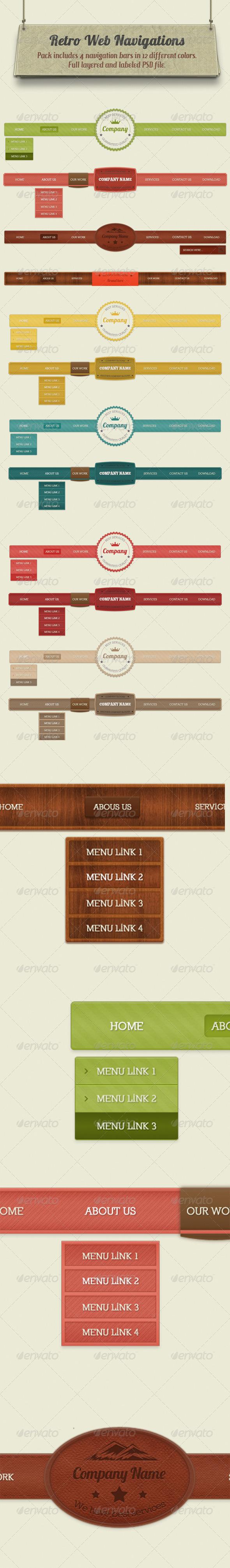 GraphicRiver Retro Navigation Bars 4592609