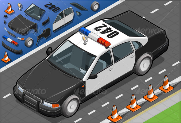 GraphicRiver Isometric Police Car in Front View 4592956